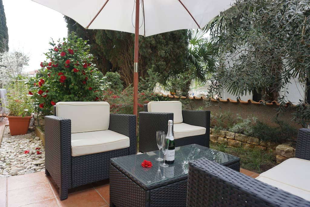 Terrace with loungers