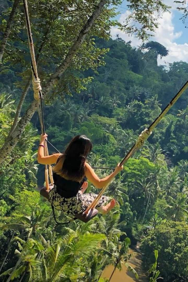 Ubud swing overlooking terraces