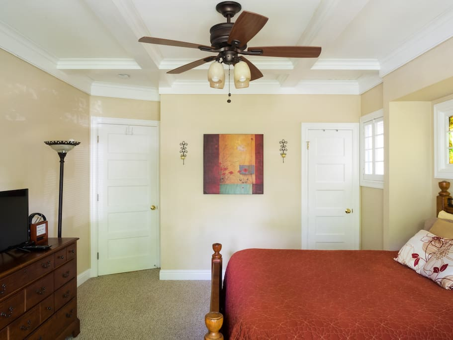 While the home is has both central heating and air, your room also has a beautiful ceiling fan that also provides extra light.