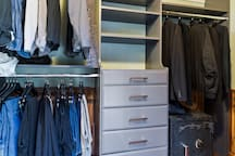 Custom walk-in closet with drawers & shoe rack (empty upon arrival)