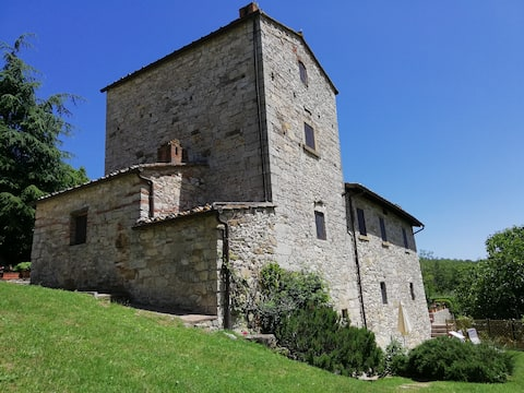 Chianti - Medieval tower with garden in a vineyard