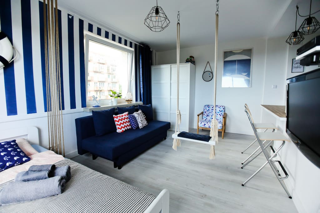 Apartment with a swing