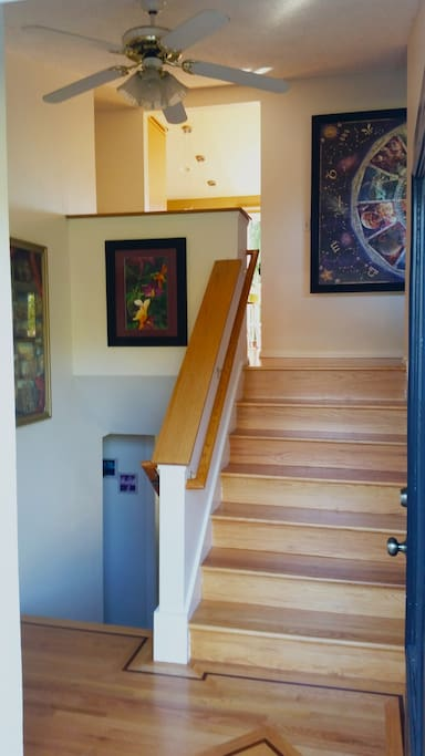 Entryway. AirBnB rooms are downstairs and hosts live upstairs.