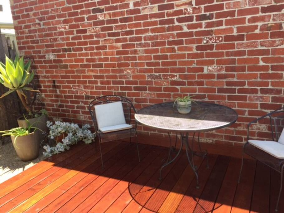 Personal outside deck to enjoy the sun & shade