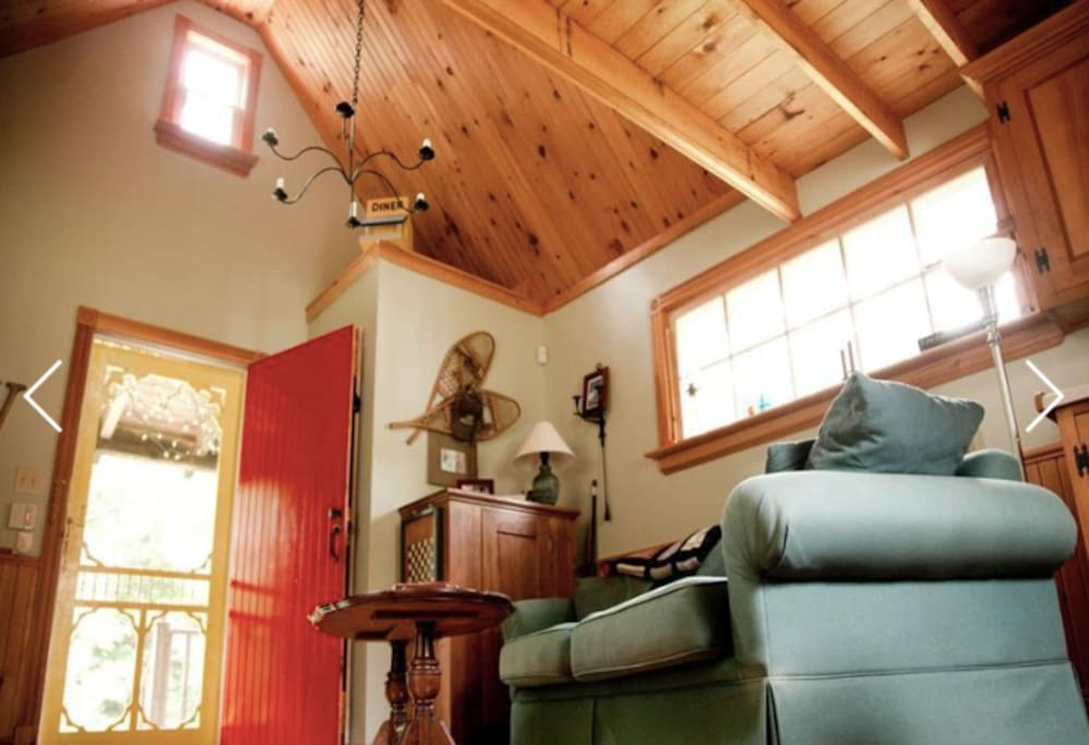 Vaulted ceilings in living room and kitchen create a great sense of space and light