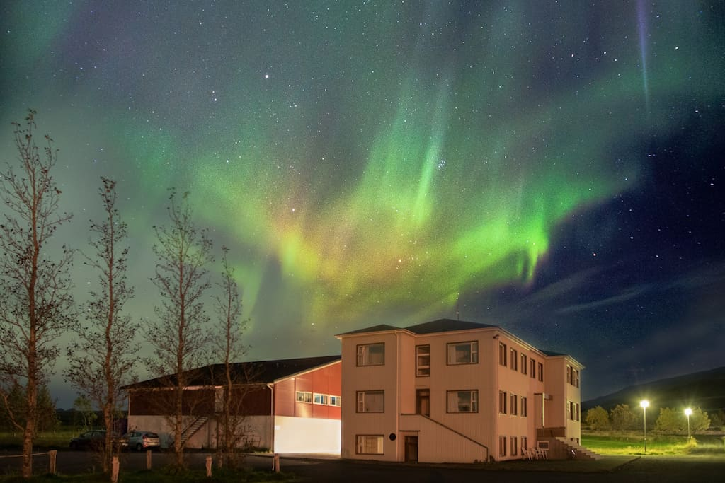 Ljosafossskoli Hostel during a winter night