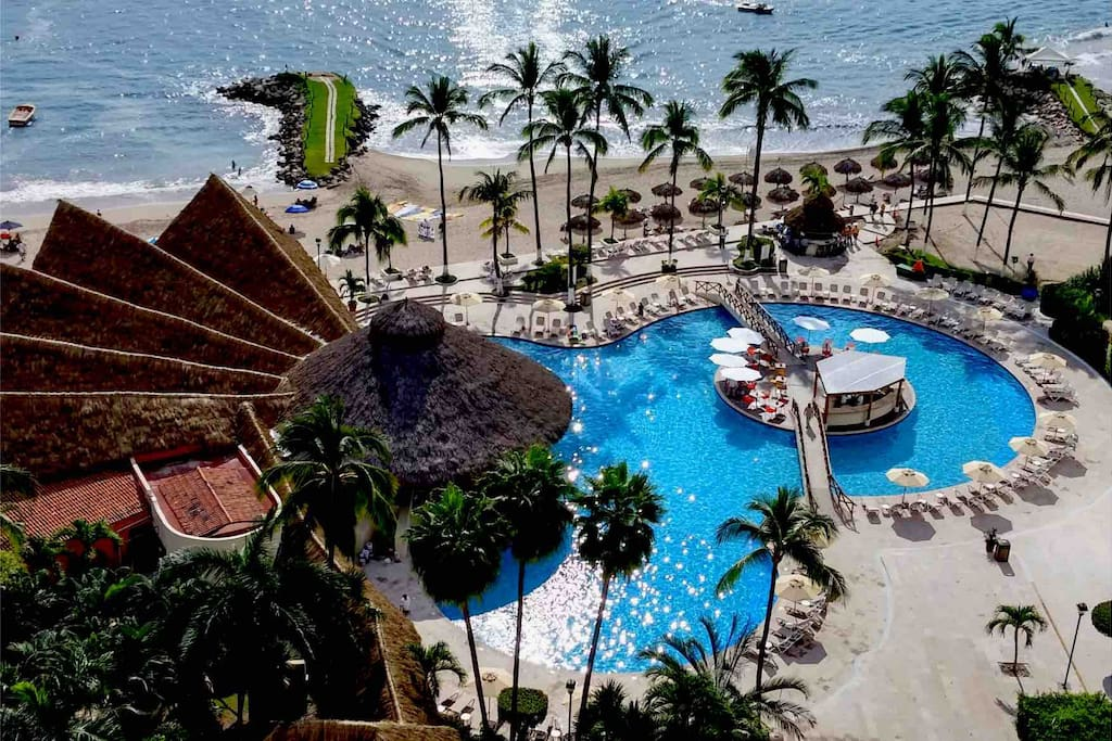View of the pool and beach from our balcony.