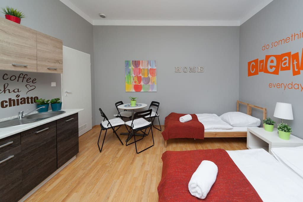 Bedroom with 2 x singe beds and sofa bed