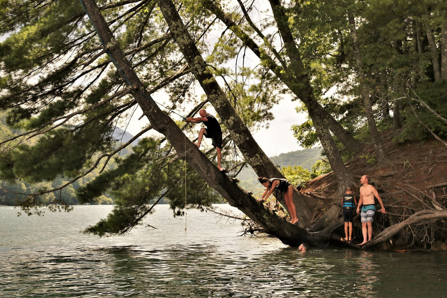 The amazingly fun Rope Swing at Rabbit Island - one of several swings on Nantahala Lake that we'll point you to when you book a stay at our cabin.  Summer Vacation Life Hack: Rent a boat at the local marina and spend a day on the lake!!!