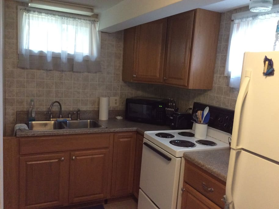 Your apartment features a full kitchen, with microwave oven and coffee maker.