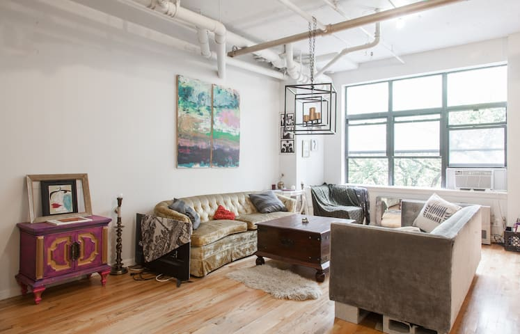 Large room in sunny Williamsburg Artist's loft.