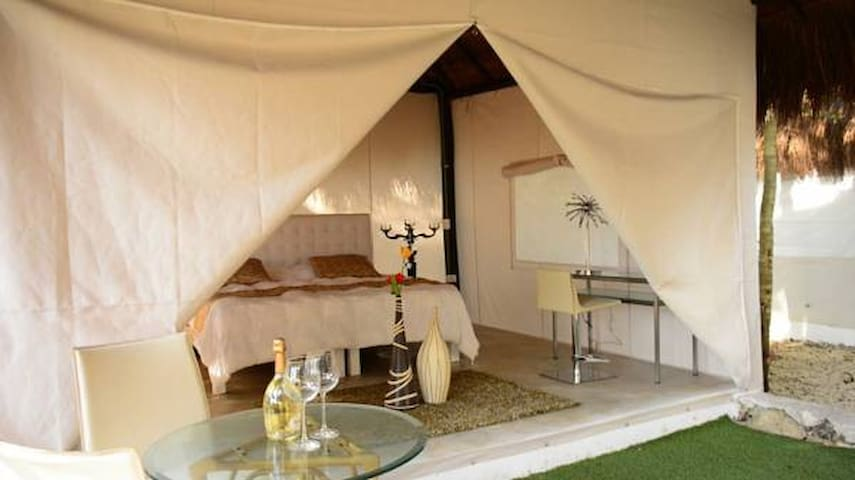 Beautiful tent in glamping close magnific beach