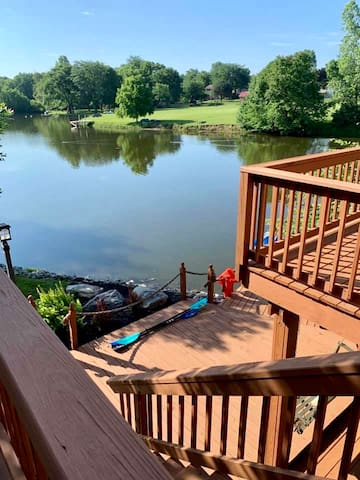 Looking over the dock area, paddle boat and kayak available