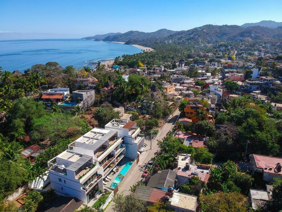 Panoramic view of Sayulita downtown from Casa Galeria