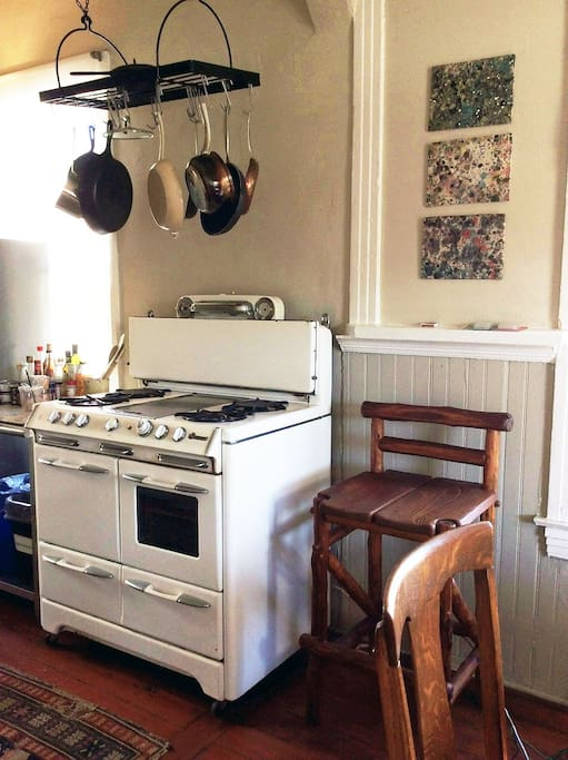 kitchen - vintage oven and high ceilings