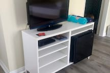 TV, mini fridge, DVD player