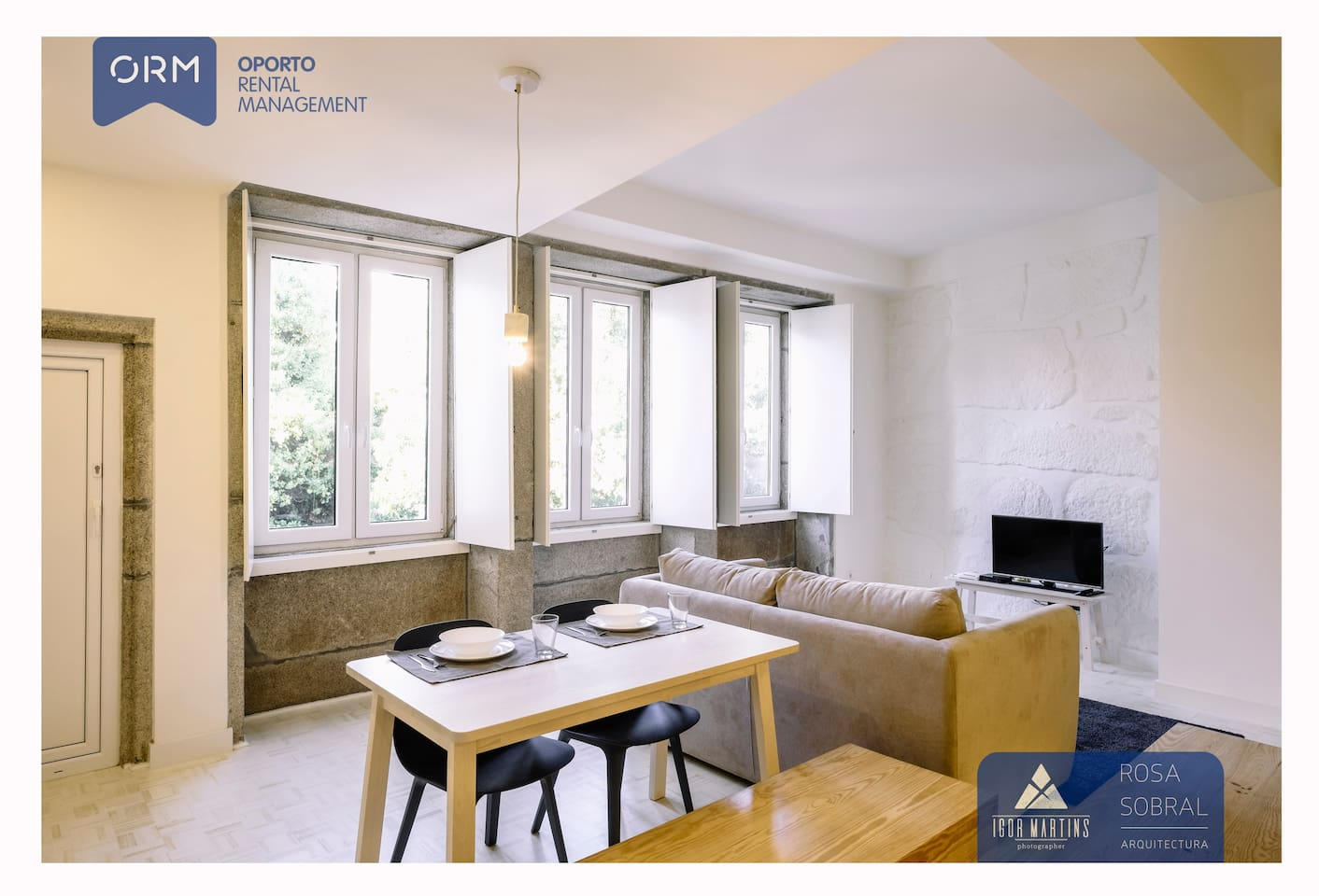 Kitchen + Living room (with double sofa bed)