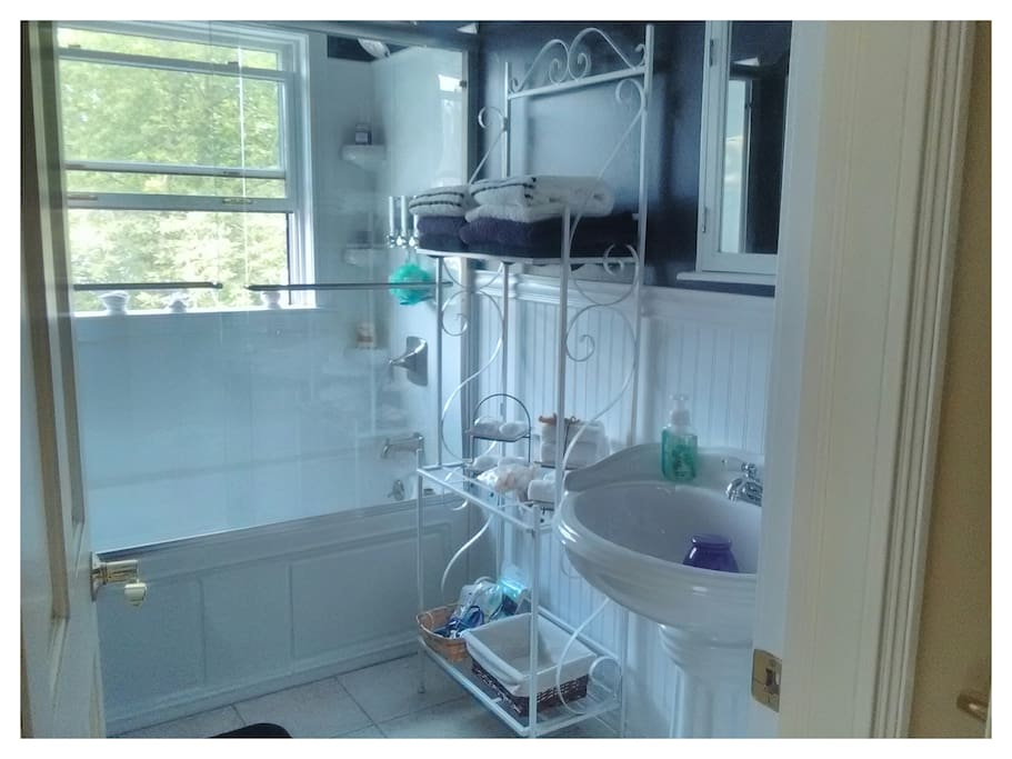 Bathroom with towels, soaps, shampoo etc.