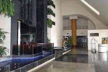Vista da entrada com os elevadores panorâmicos.