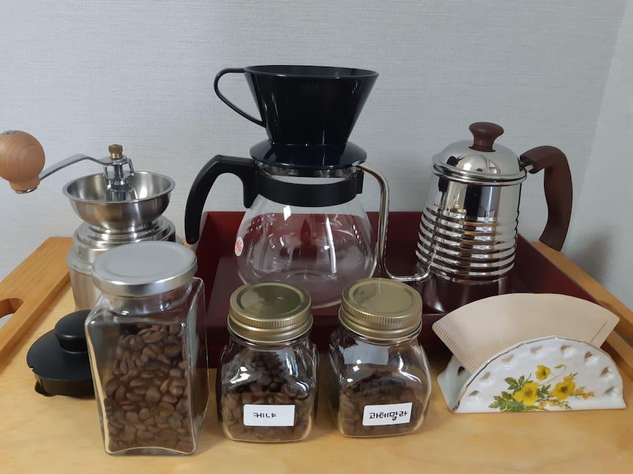 커피도시 강릉~신선한 커피콩으로숙소에서 드립으로즐기세요