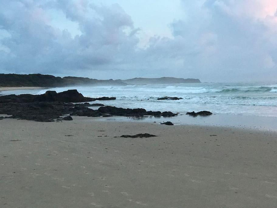 Beach is a 2 minute walk