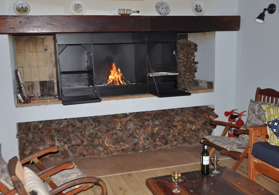 new indoor barbeque and fireplace