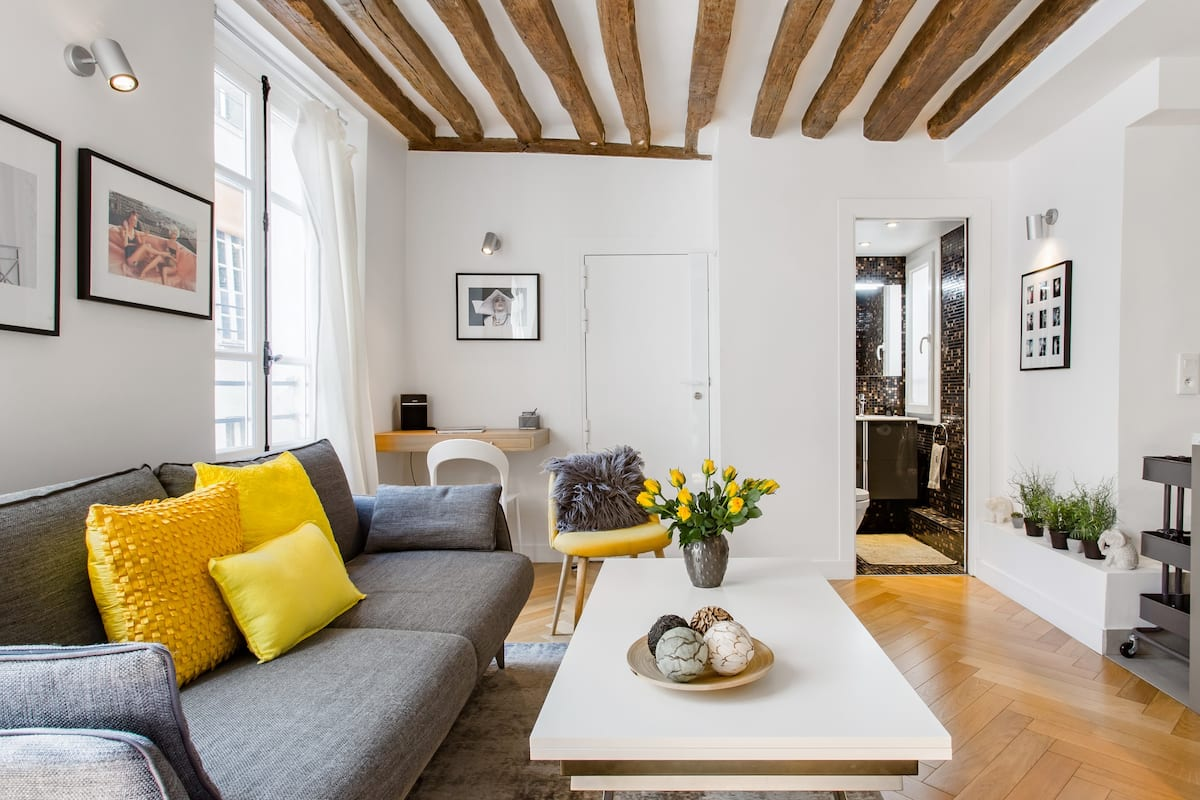 Unwind at a Chic City Sanctuary with Sunny Yellow Accents