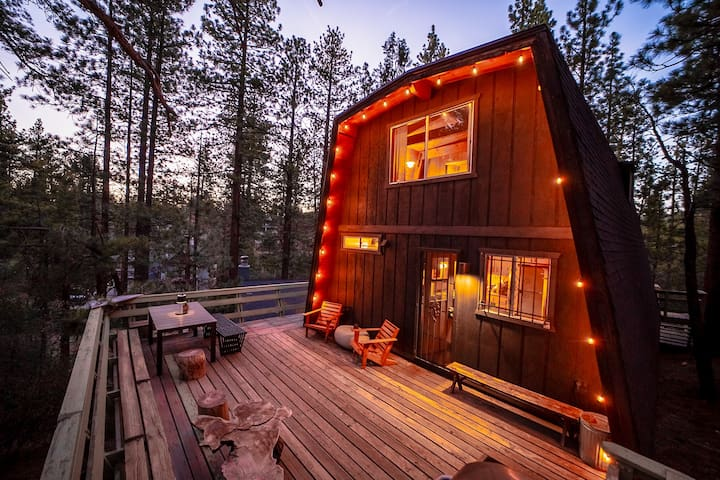 The peaceful back deck of the cabin looks out unobstructed into the National Forest. You can walk right off the deck into the forest where miles and miles of trails are waiting to be explored. String lights provide a nice glow at night.