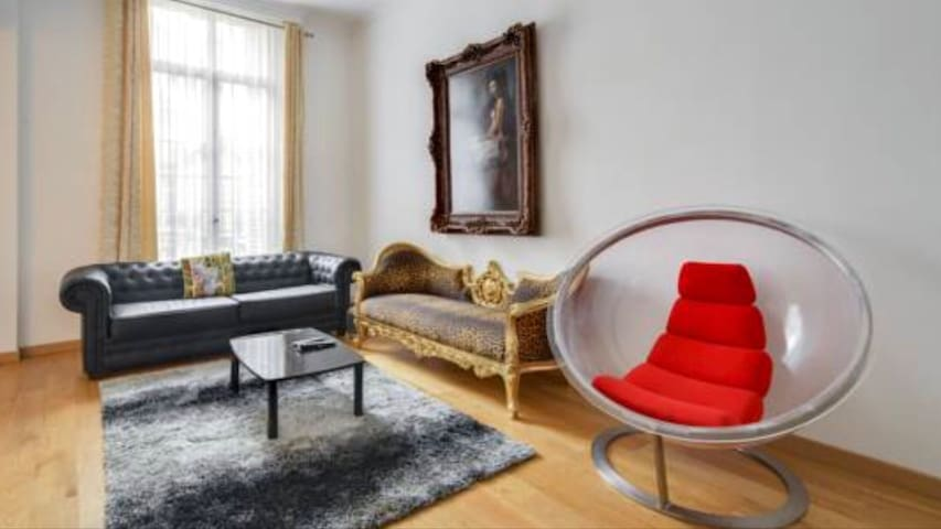 Living room with one sofa bed queen size