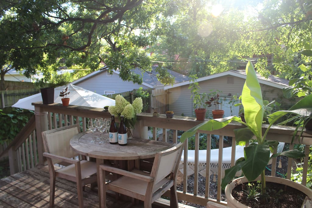 Take in the gorgeous garden from our cool, tree-shaded deck.