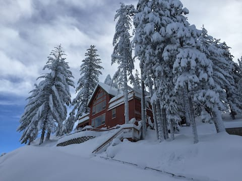 This Winter You gotta come up! There is only one parking spot, so the cabin can only hold up to 8 guests. The rates are less for that reason. But worth the views & visit!