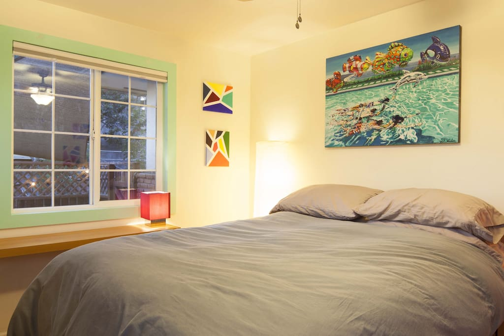 Room crafted with all the comforts and local artists' paintings.