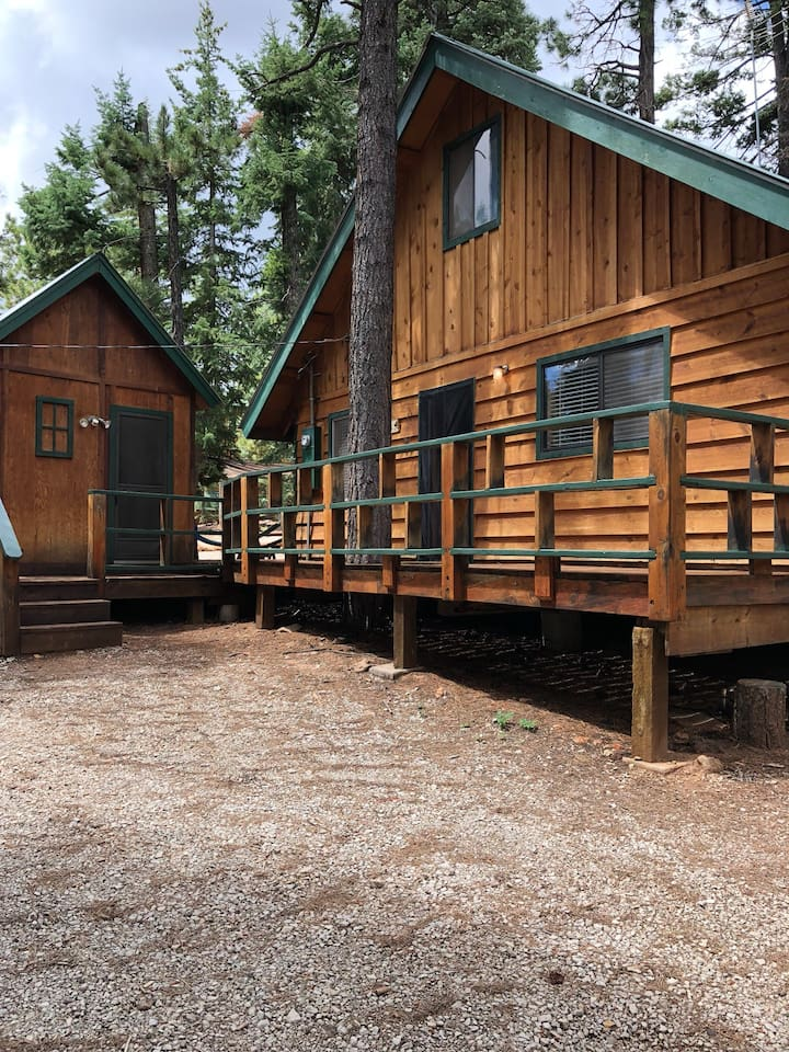 Front of the cabin and separate casita