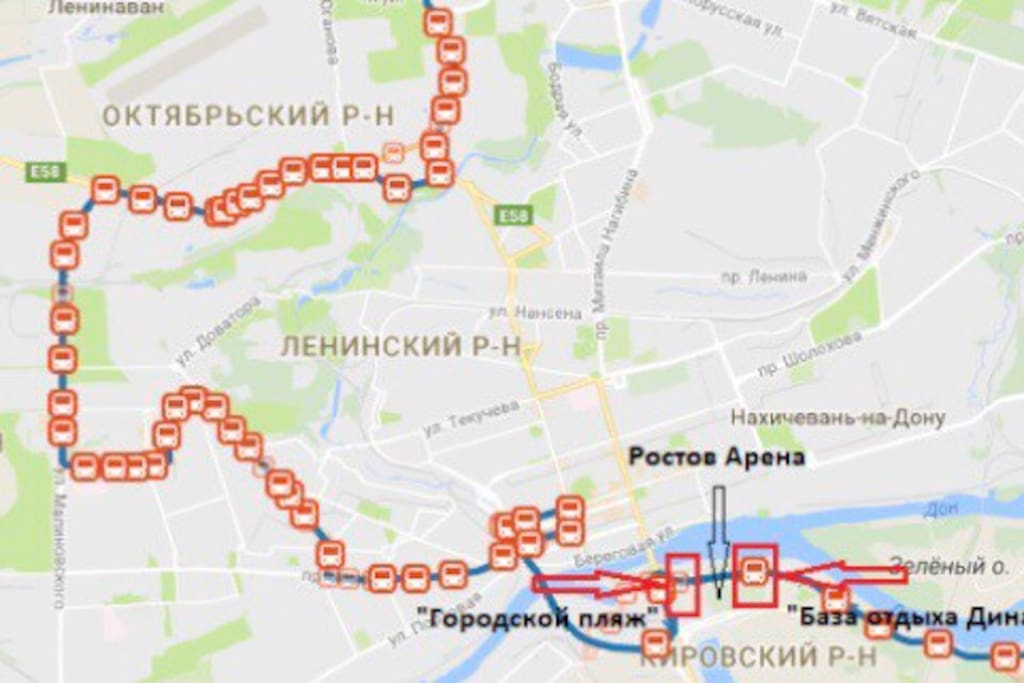 3 minutes to the bus stop number 516 to Rostov Arena