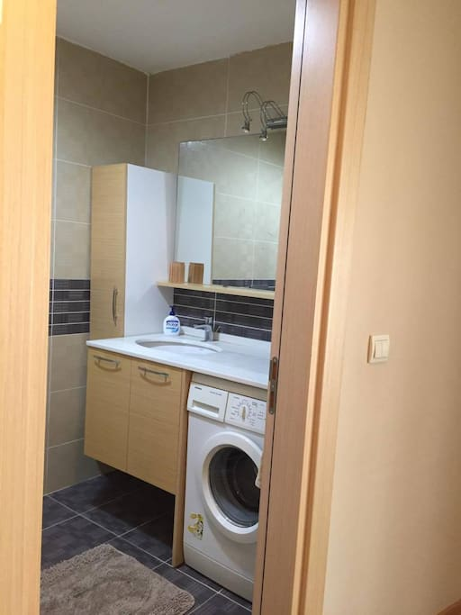 Bathroom with washing machine, shower room