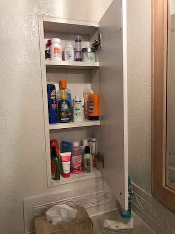 Lots of products for your use... help Yourself! (sunscreens, aloe, lotions, remedies, hair care, etc) Each bathroom has a hair dryer, flat iron and curling iron too!