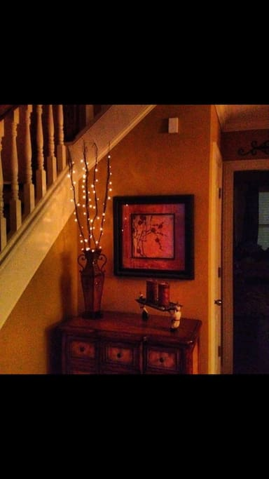 The entry way in the evening in our home.