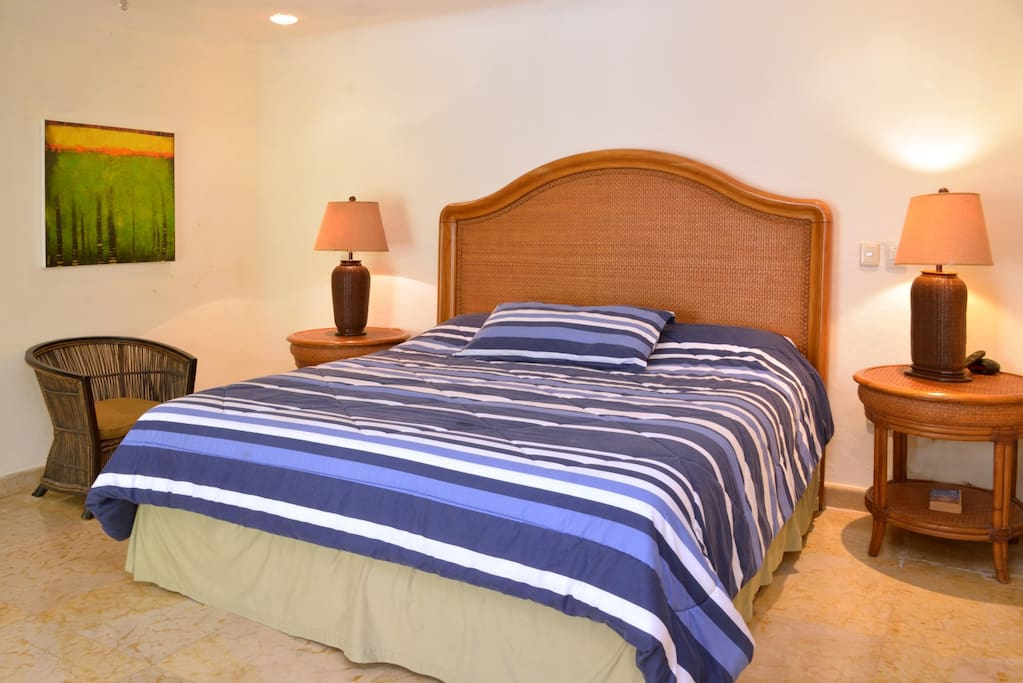 comfortable King size bed in one of the 3 suites