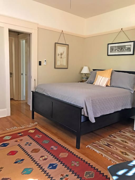 Comfortable queen sized bed and a secret passageway to the breakfast nook.