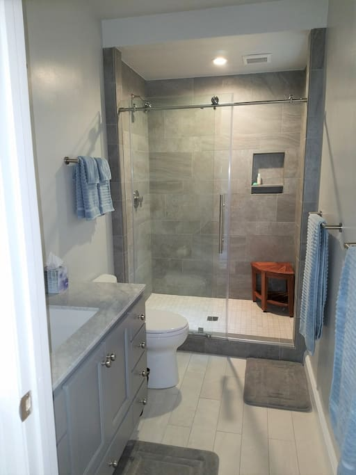 Newly remodeled bath with oversized shower