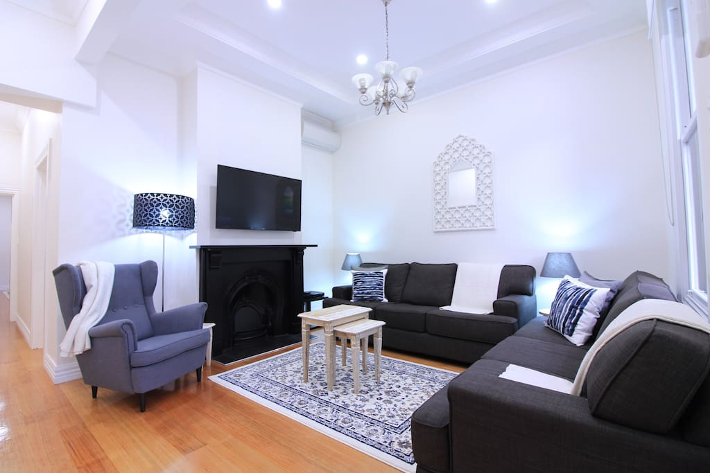 Main living area with  Foxtel (Cable TV) and Sports Channels