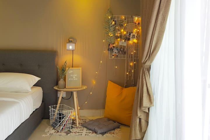 2人休闲舒适独立套房/近市区/机场/丹绒亚路海滩/中文房东/Aeropod