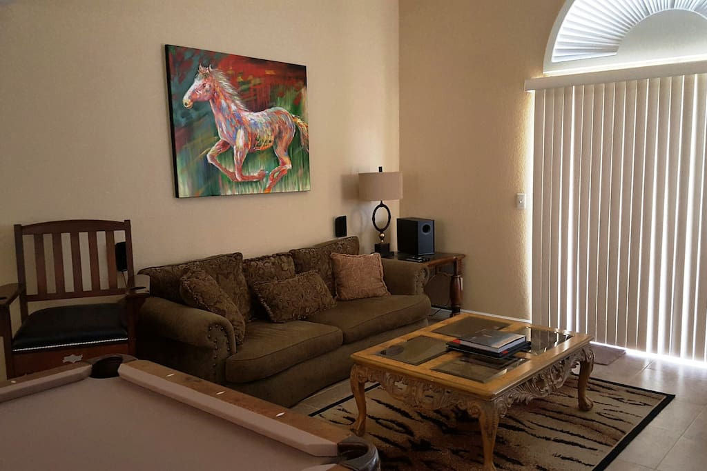 Surround sound and comfortable seating area.