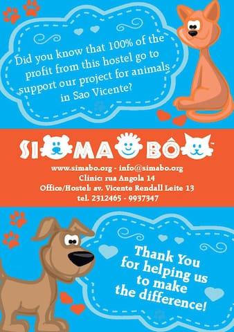 100% of the profit of this hostel go to support our project for animals in S. Vicente.