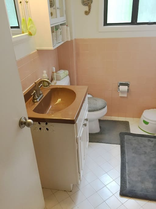 Bathroom has separate tub and shower.