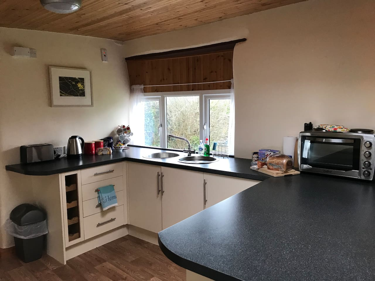 The kitchen area with windows looking out to the garden. It has a fridge and small worktop cooker with 2 hobs.