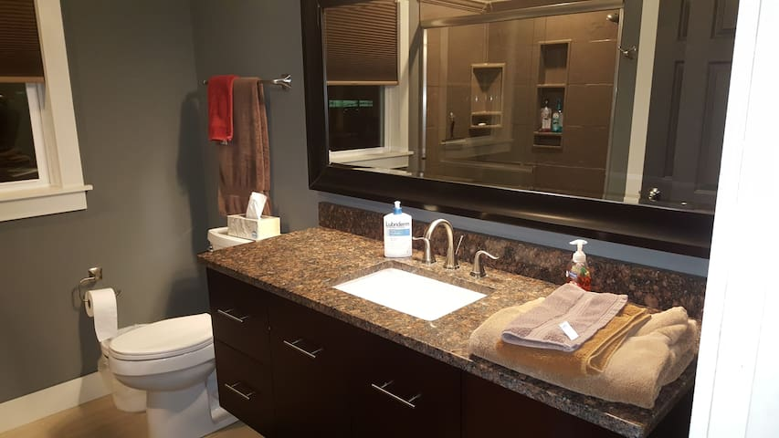 Private in room facilities with oversize shower and instant hot water.