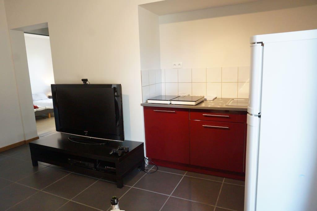 Keuken en frigo in leefruimte