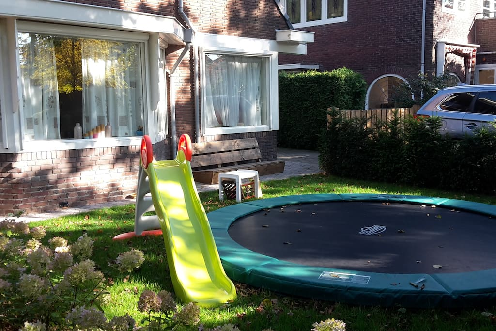 Large trampoline in the front yard