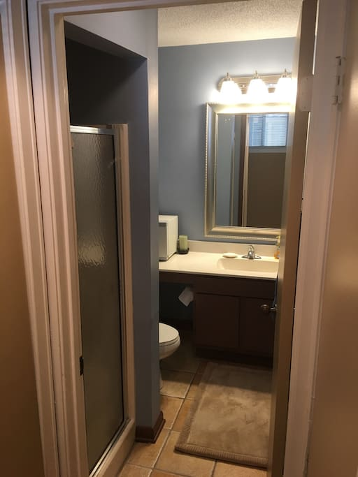 Guest bathroom shower, sink and toilet for guest only